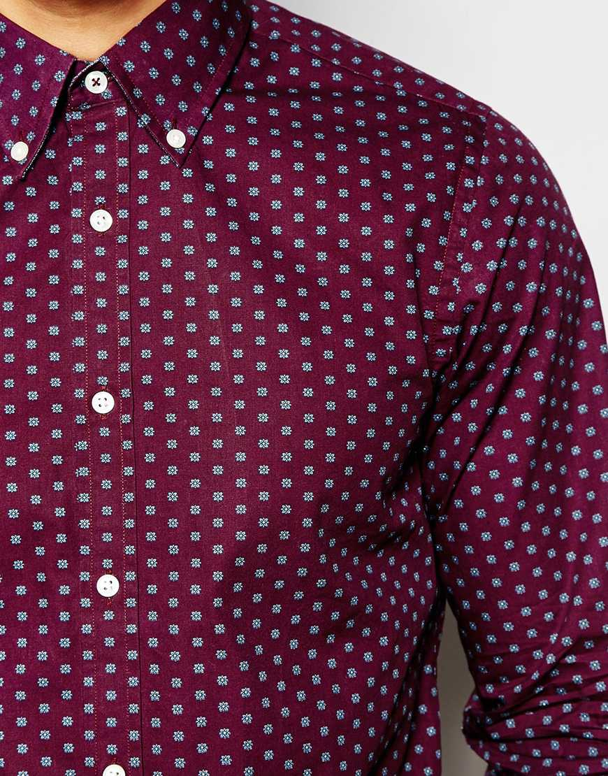Lyst Tommy Hilfiger Shirt With Small Print In Slim Fit In Purple