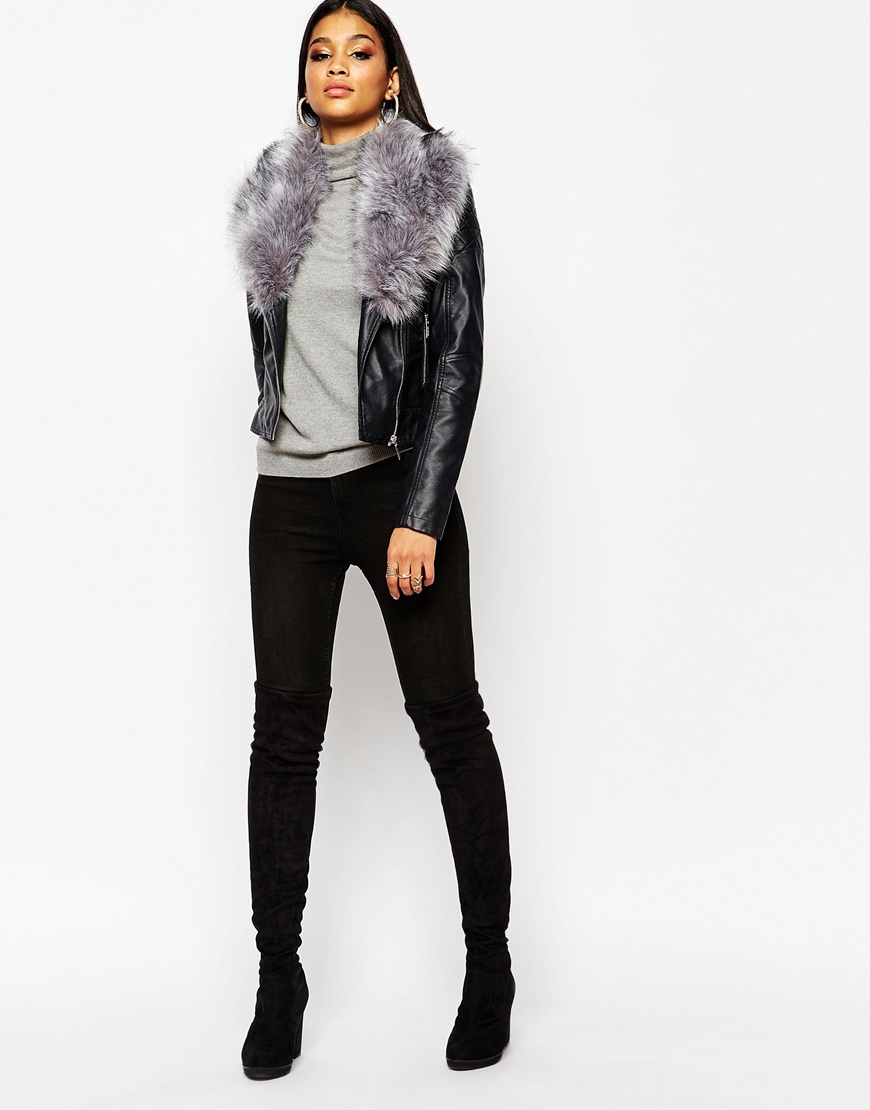 58d10fde62395 Lipsy Michelle Keegan Loves Pu Jacket With Faux Fur Collar in Blue ...