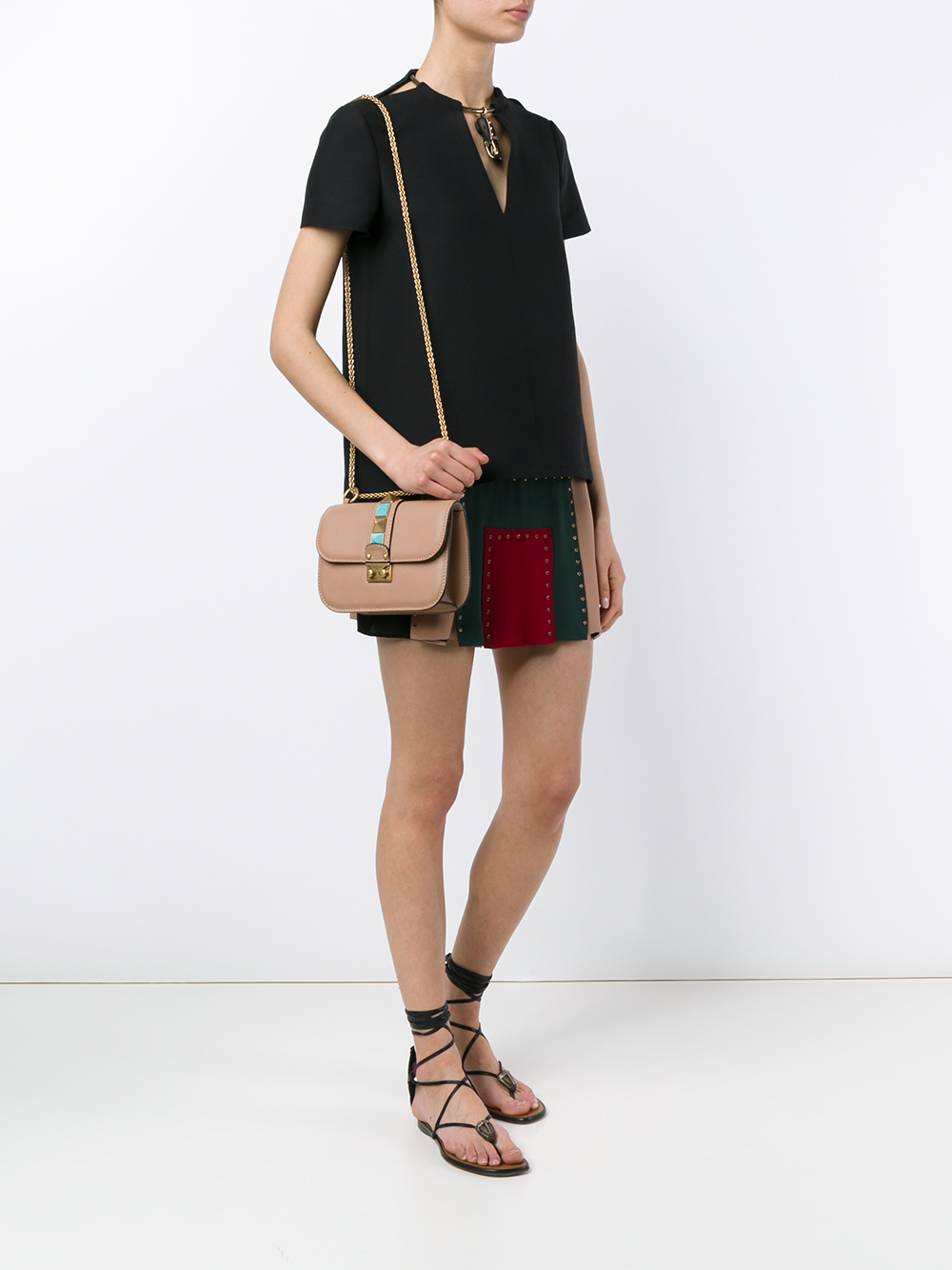 Lyst Valentino Rockstud Small Leather Cross Body Bag In Pink