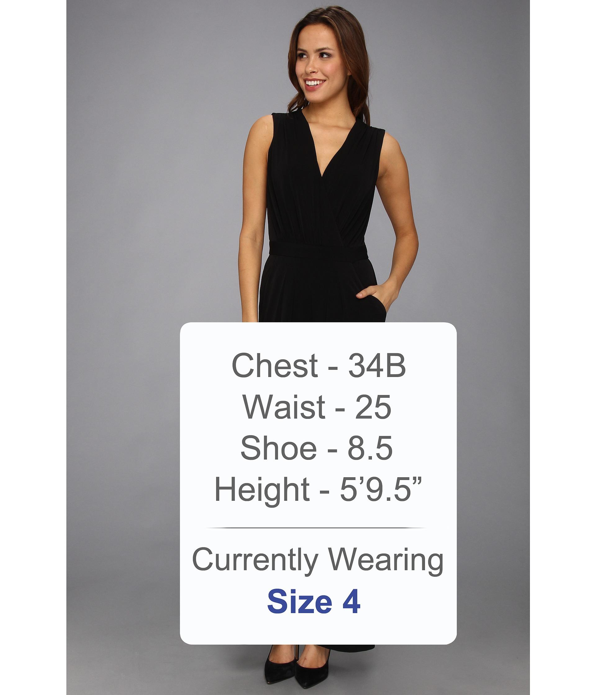 Lyst Vince Camuto Vneck Faux Wrap Jumpsuit Dress In Black