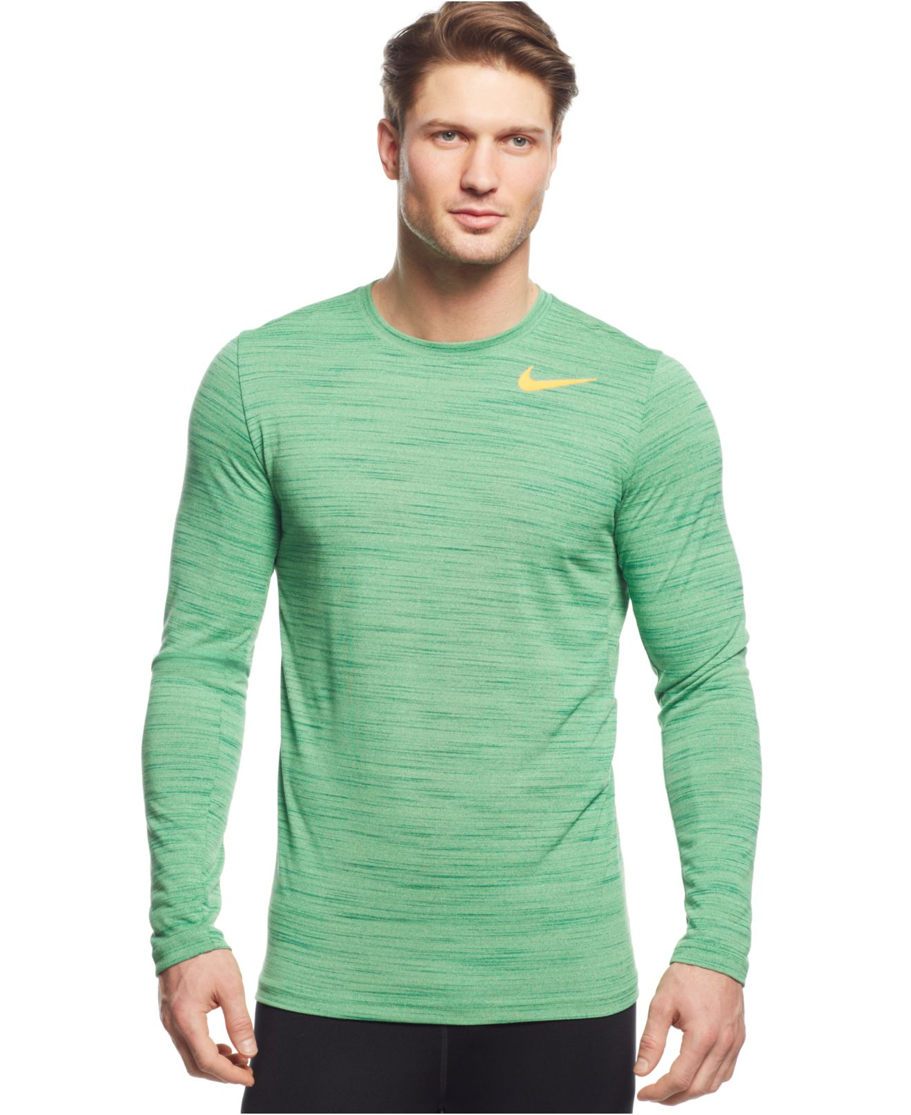 4ea4254832ea Lyst - Nike Dri-fit Touch Performance Long Sleeve Shirt in Green for Men