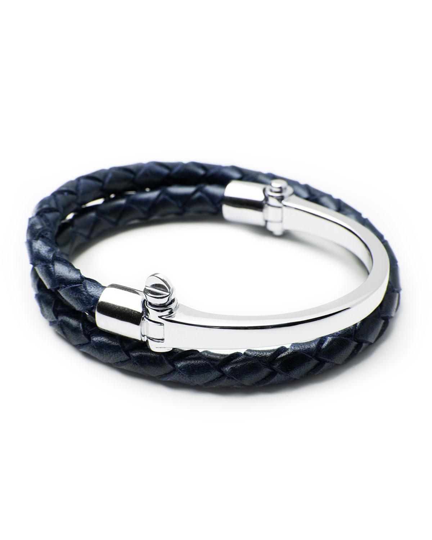 Miansai Sterling Silver Rovos Half Cuff Woven Bracelet In