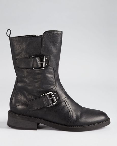 Enzo Angiolini Booties Sinley Double Buckle In Black Lyst