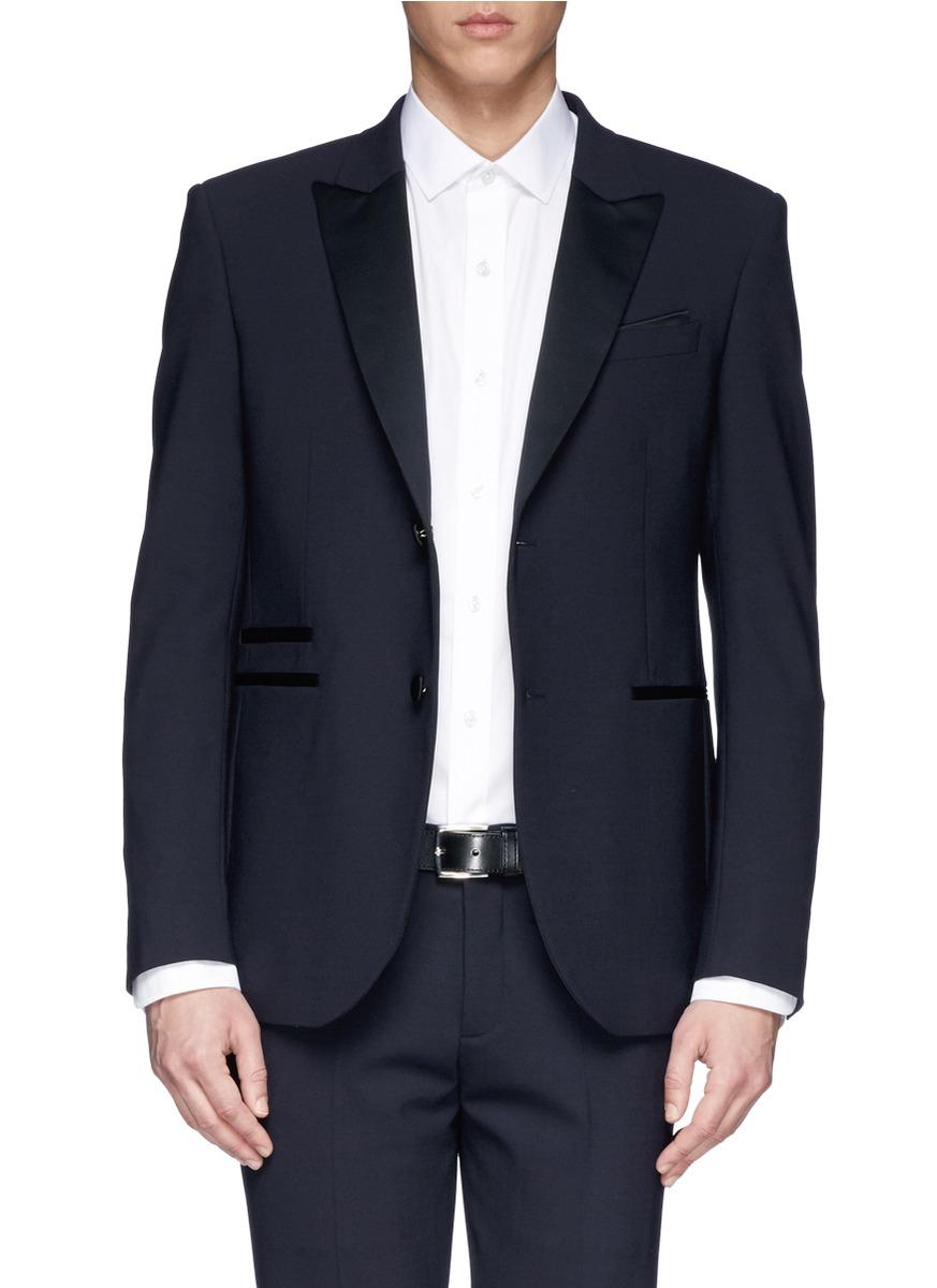 Neil barrett satin lapel virgin wool blend tuxedo blazer for Neil barrett tuxedo shirt