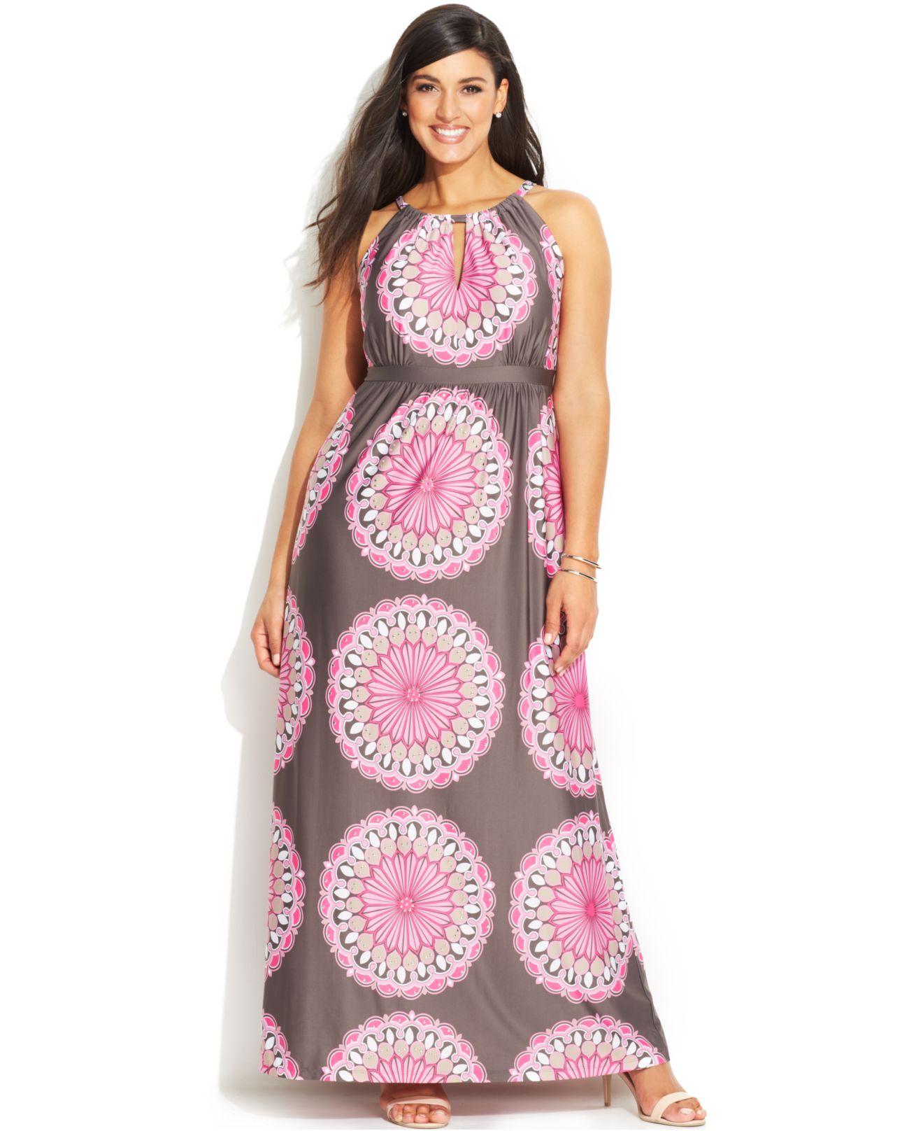 Plus Size Printed Keyhole Maxi Dress