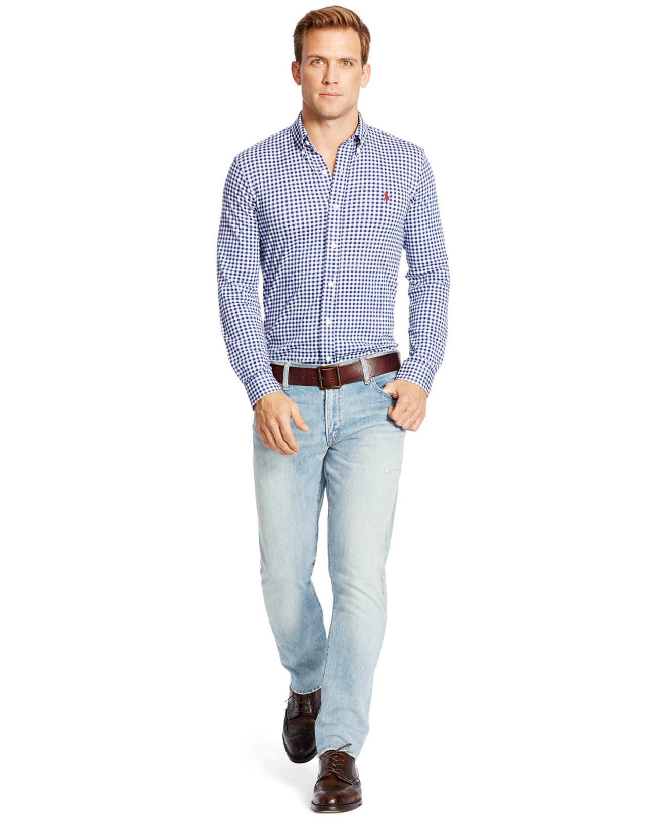 Lyst Polo Ralph Lauren Gingham Knit Dress Shirt In Blue For Men