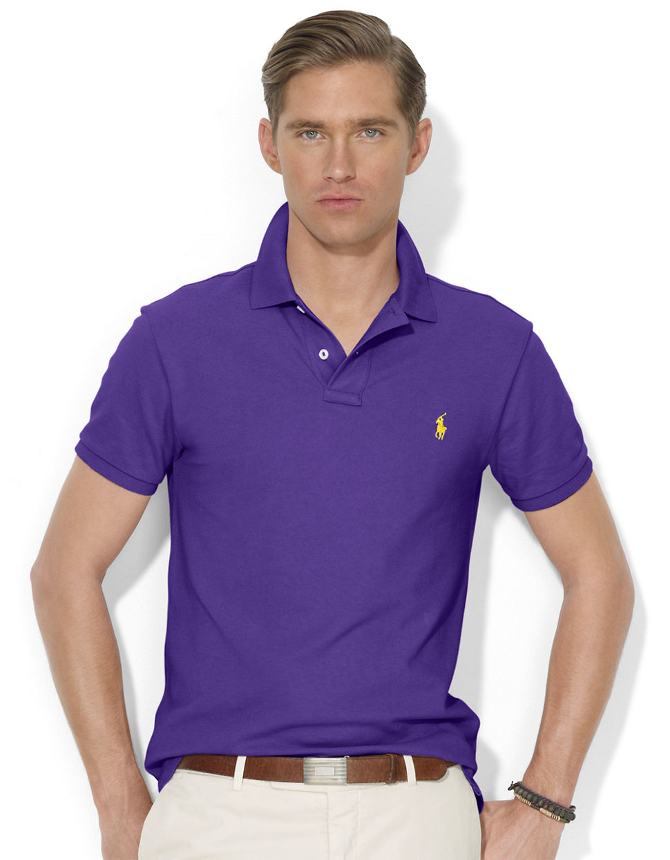 polo ralph lauren slim fit mesh polo shirt in purple for men lyst. Black Bedroom Furniture Sets. Home Design Ideas