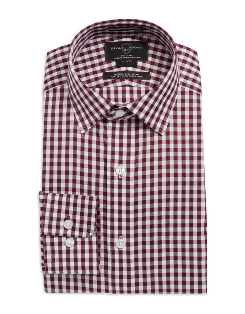 Black Brown Fitted Gingham Pattern Dress Shirt In Red