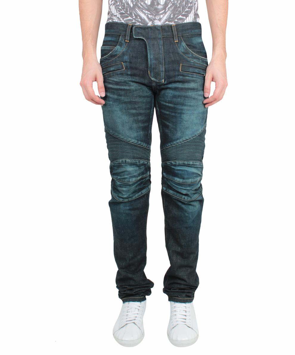 balmain vintage wash biker jeans in blue for men lyst. Black Bedroom Furniture Sets. Home Design Ideas