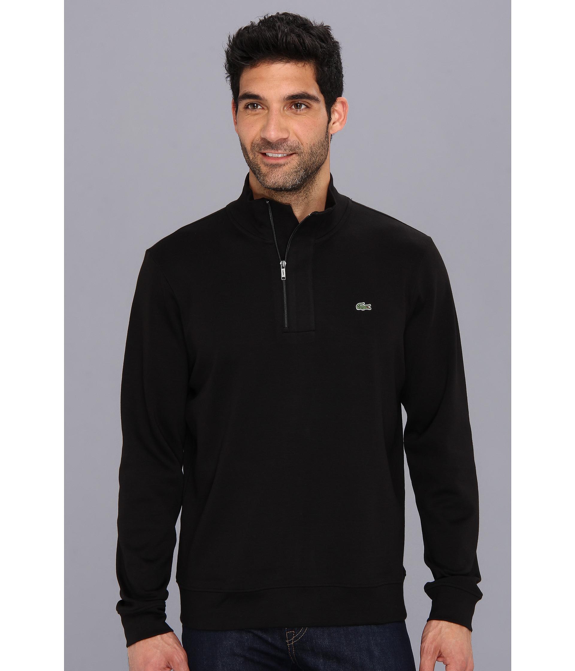 Lacoste Half Zip Interlock Sweatshirt in Black for Men | Lyst