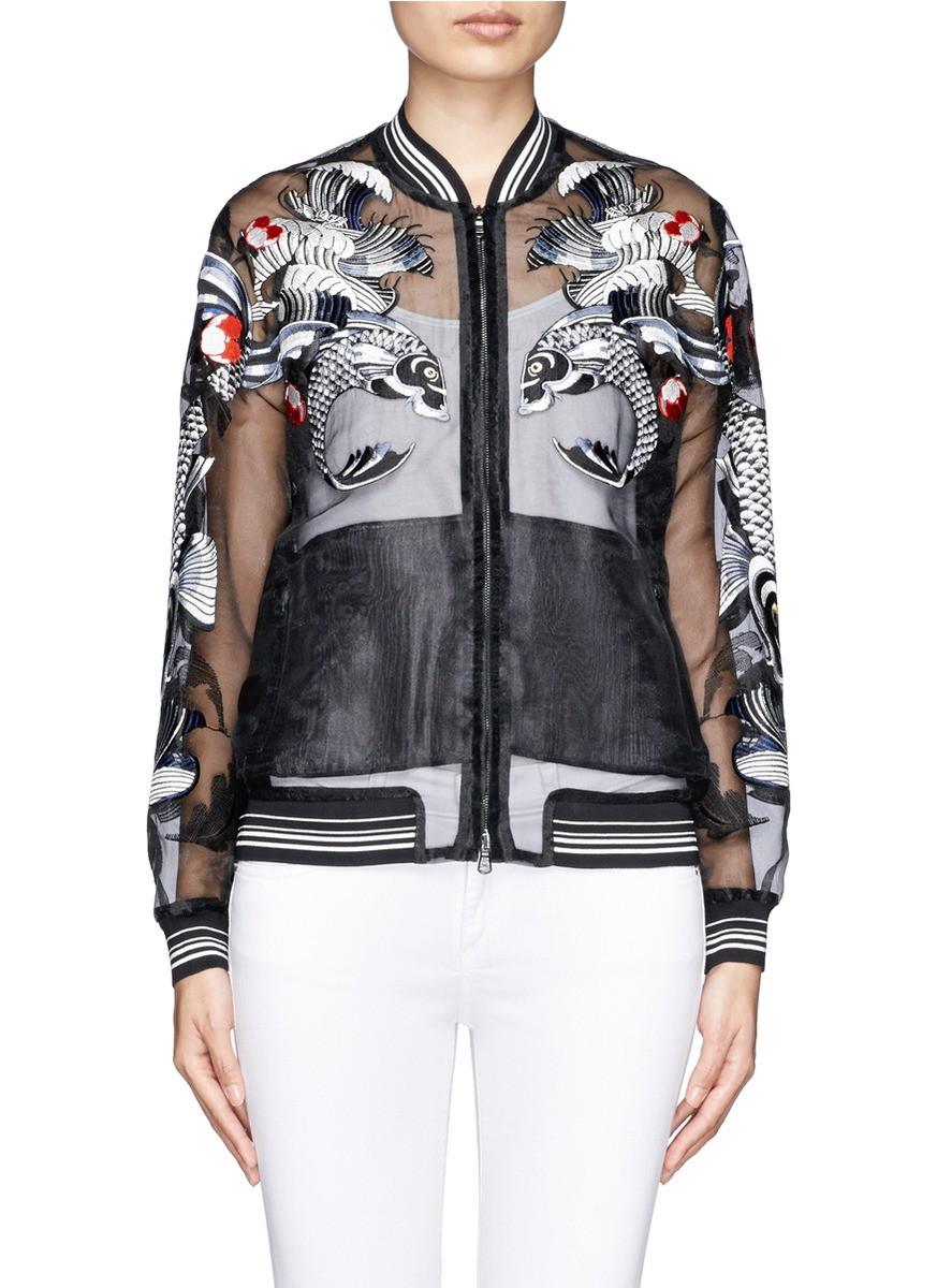 3.1 Phillip Lim Synthetic Tattoo Embroidered Organza