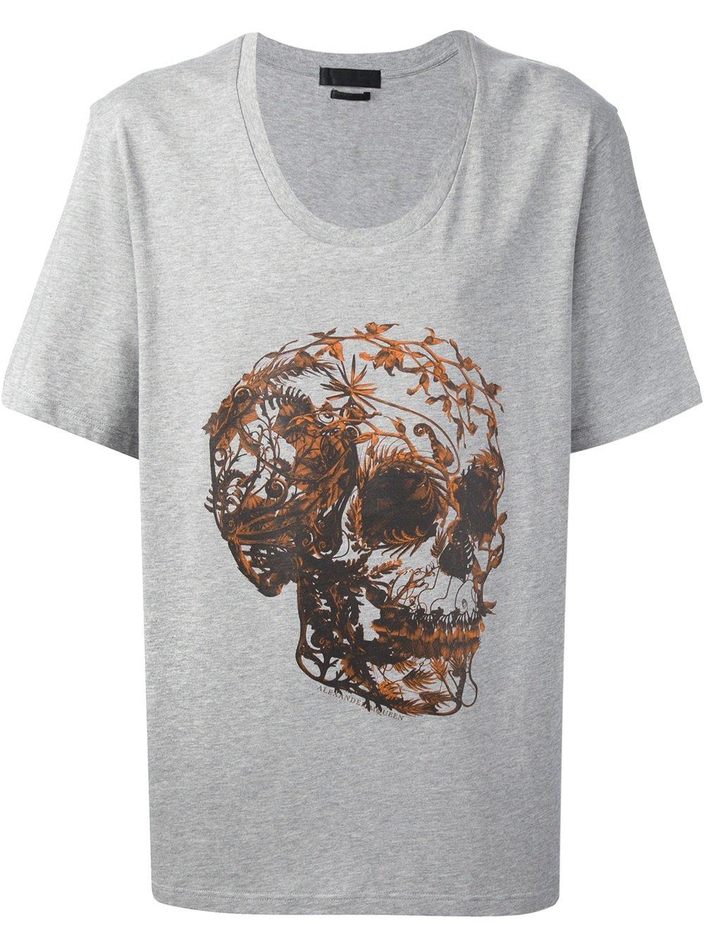 Lyst alexander mcqueen foliage skull print t shirt in for Alexander mcqueen shirt men