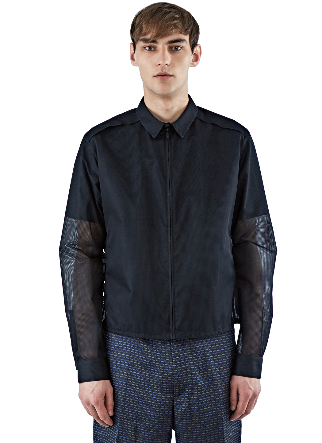 calvin klein men 39 s mesh coach jacket in black in black for men lyst. Black Bedroom Furniture Sets. Home Design Ideas