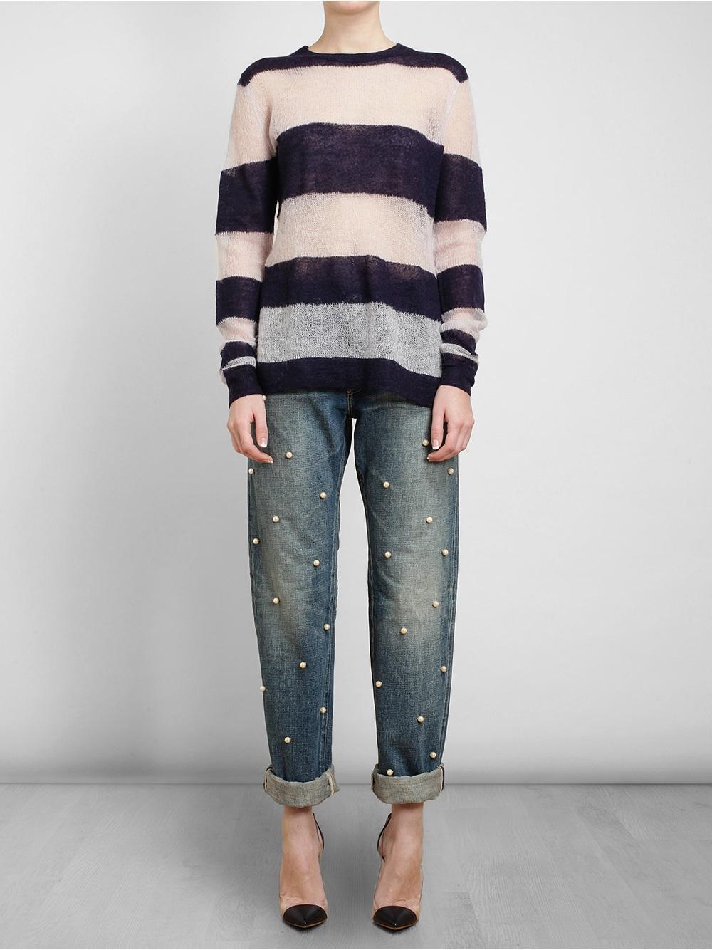 Tu Es Mon Tresor Small Pearl Embellished Boyfriend Jeans in Blue