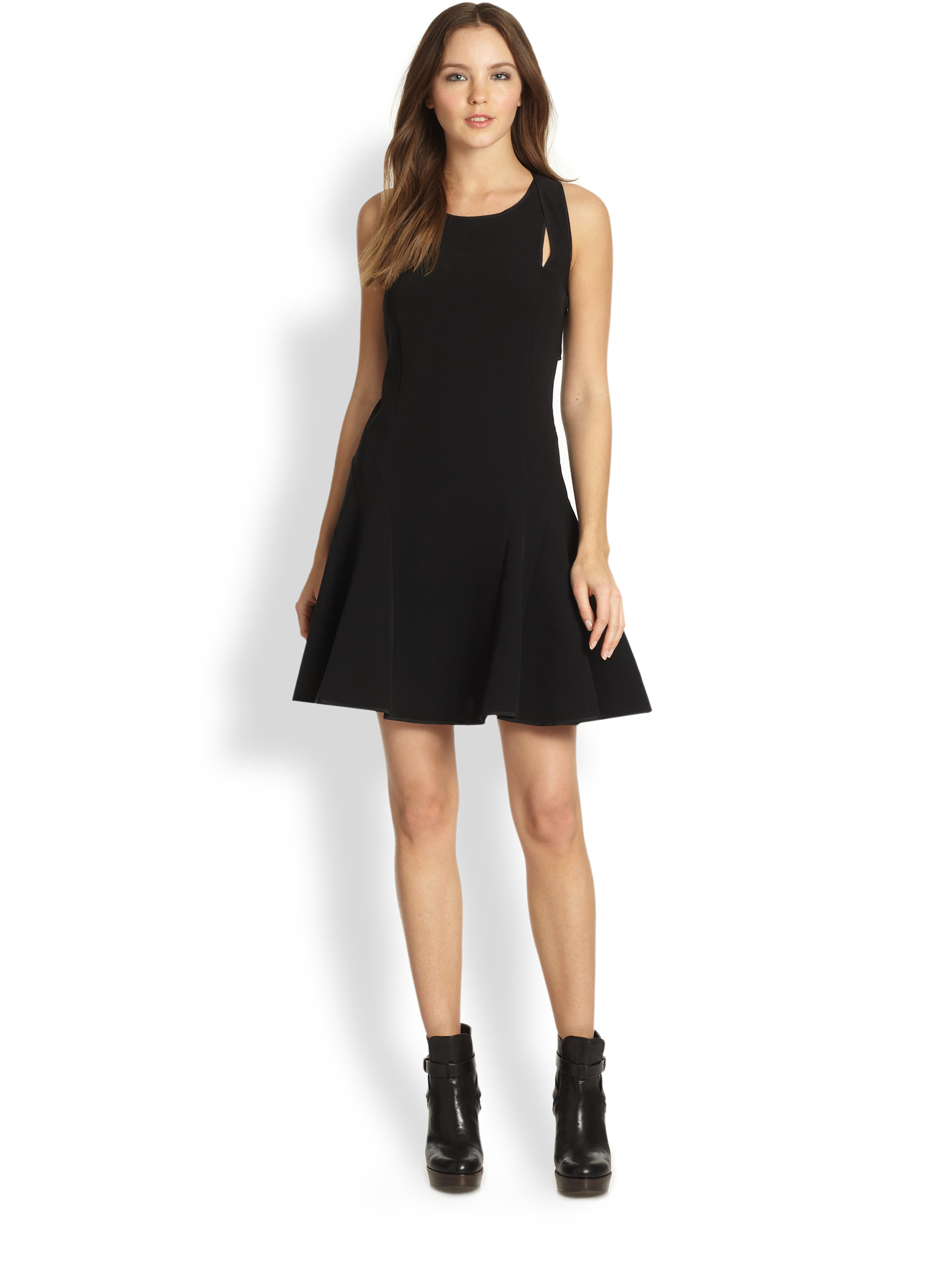 Dkny Sleeveless Doubleracerback Dress In Black Lyst
