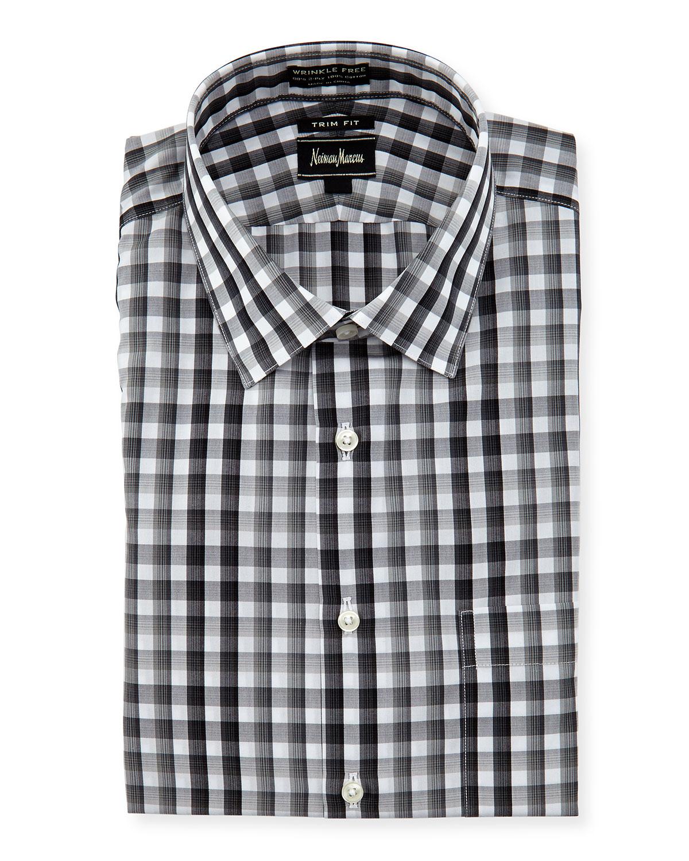 Neiman marcus no iron trim fit plaid dress shirt in black for Men s no iron dress shirts