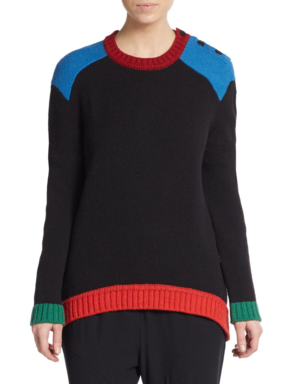 givenchy tricolor oversized sweater in black lyst. Black Bedroom Furniture Sets. Home Design Ideas