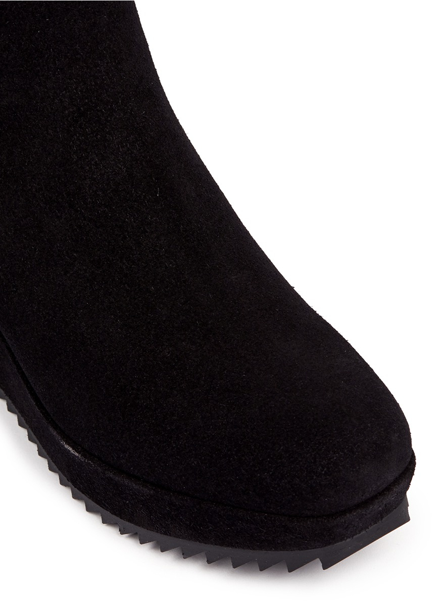 Pedro Garcia Fawn Suede Wedge Boots in Black