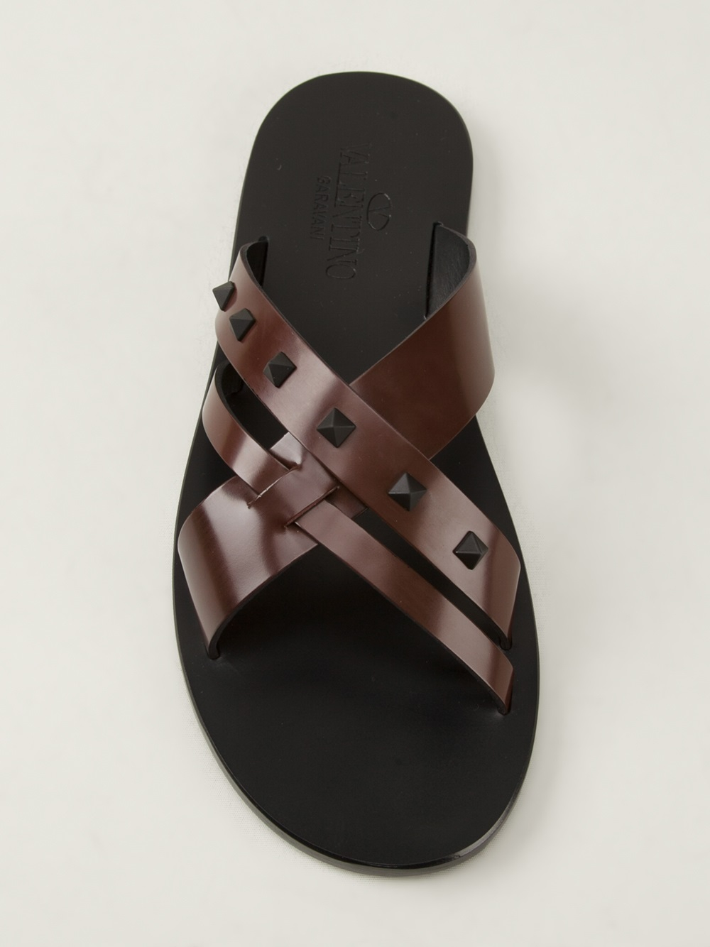 Valentino Studded Flip Flops In Brown For Men - Lyst-3980