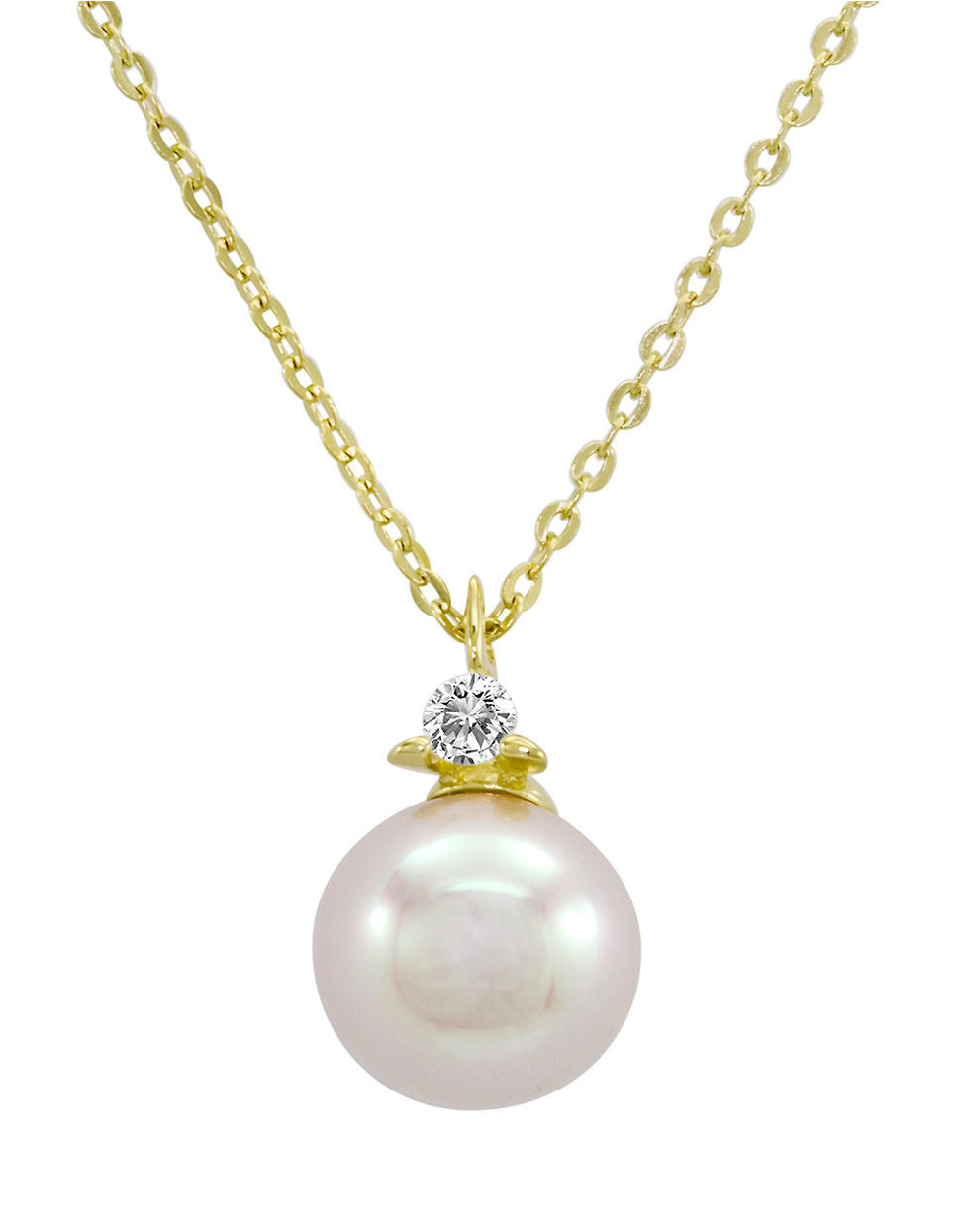 Majorica Sterling Silver And Round Pearl Pendant Necklace ...