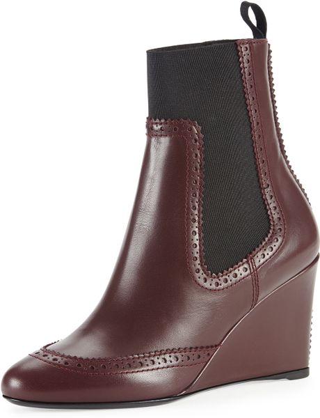 balenciaga brogue trim wedge chelsea ankle boot in purple