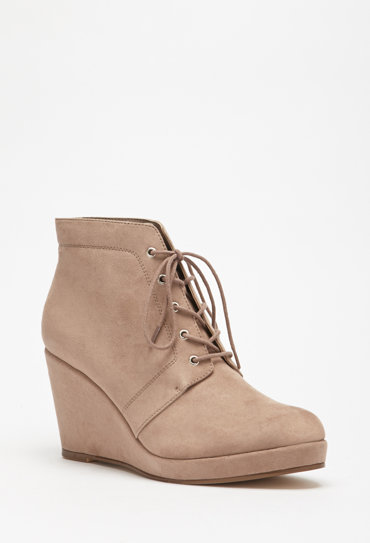 Lyst Forever 21 Faux Suede Lace Up Booties In Gray