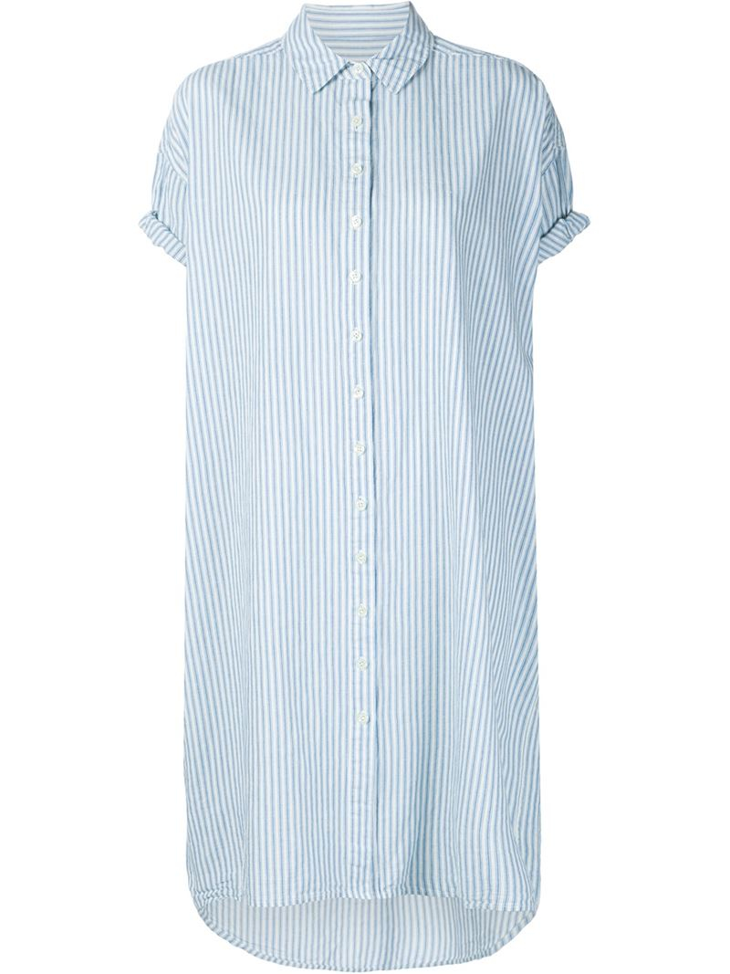 Lyst The Great Striped Shirt Dress In Blue