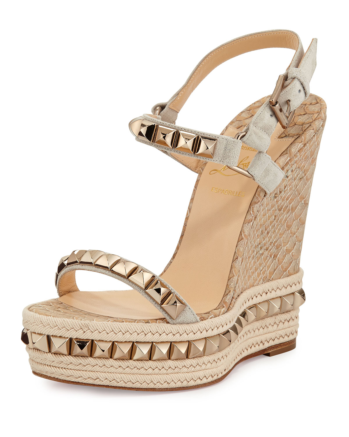 d54f3f7438c Lyst - Christian Louboutin Cataclou Python-embossed Cork Wedge in Brown