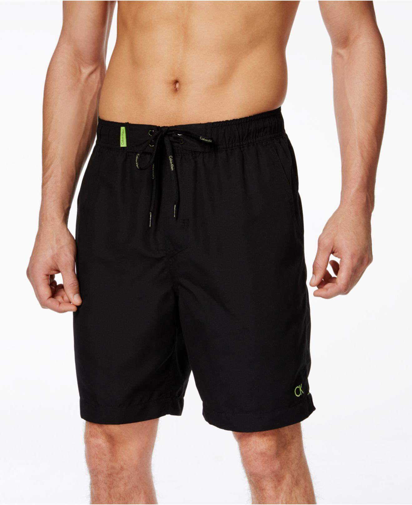 Calvin klein men 39 s classic swim trunks in black for men lyst - Swimmingpool klein ...