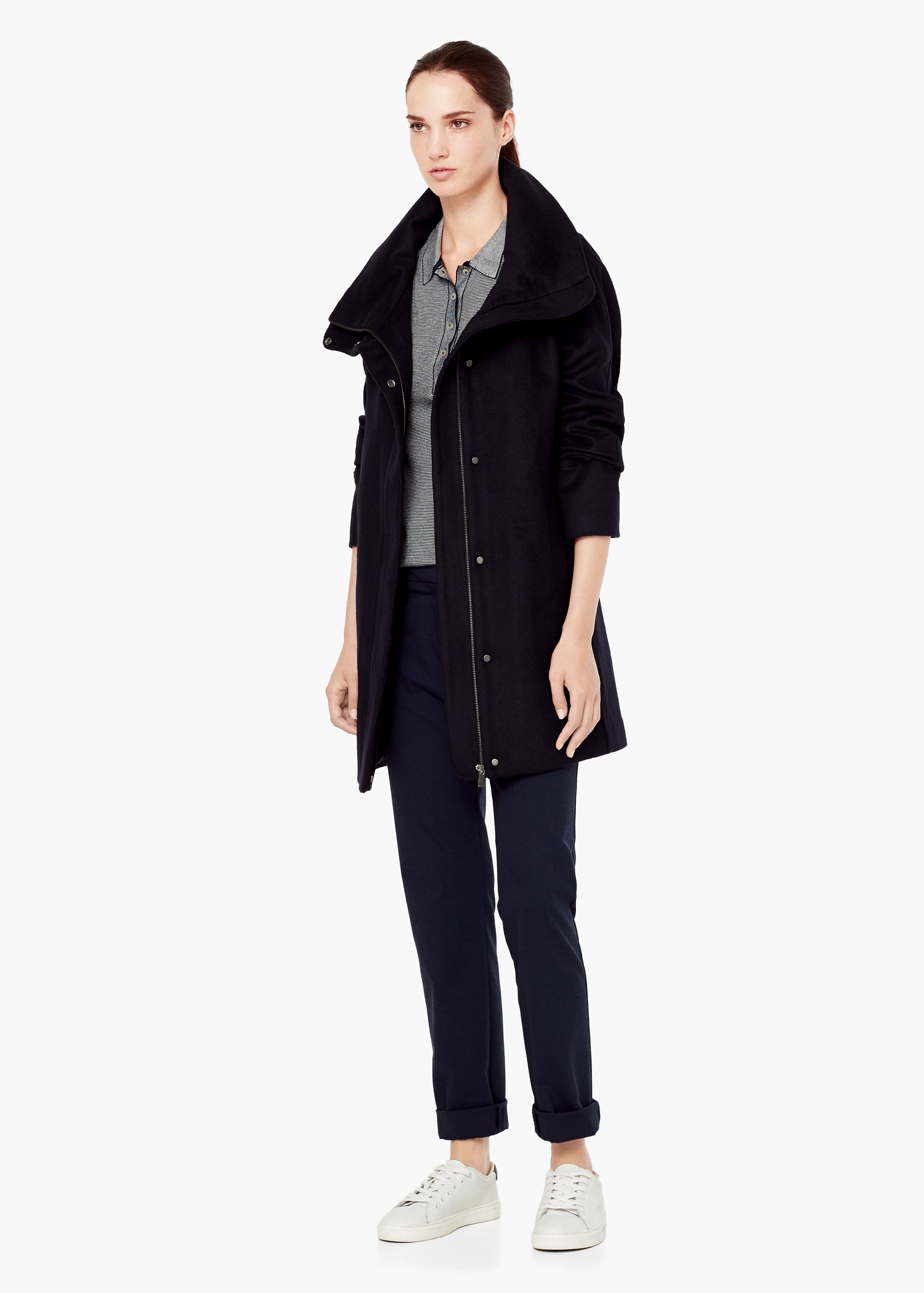 Mango Cotton Cashmere-blend Coat in Blue | Lyst