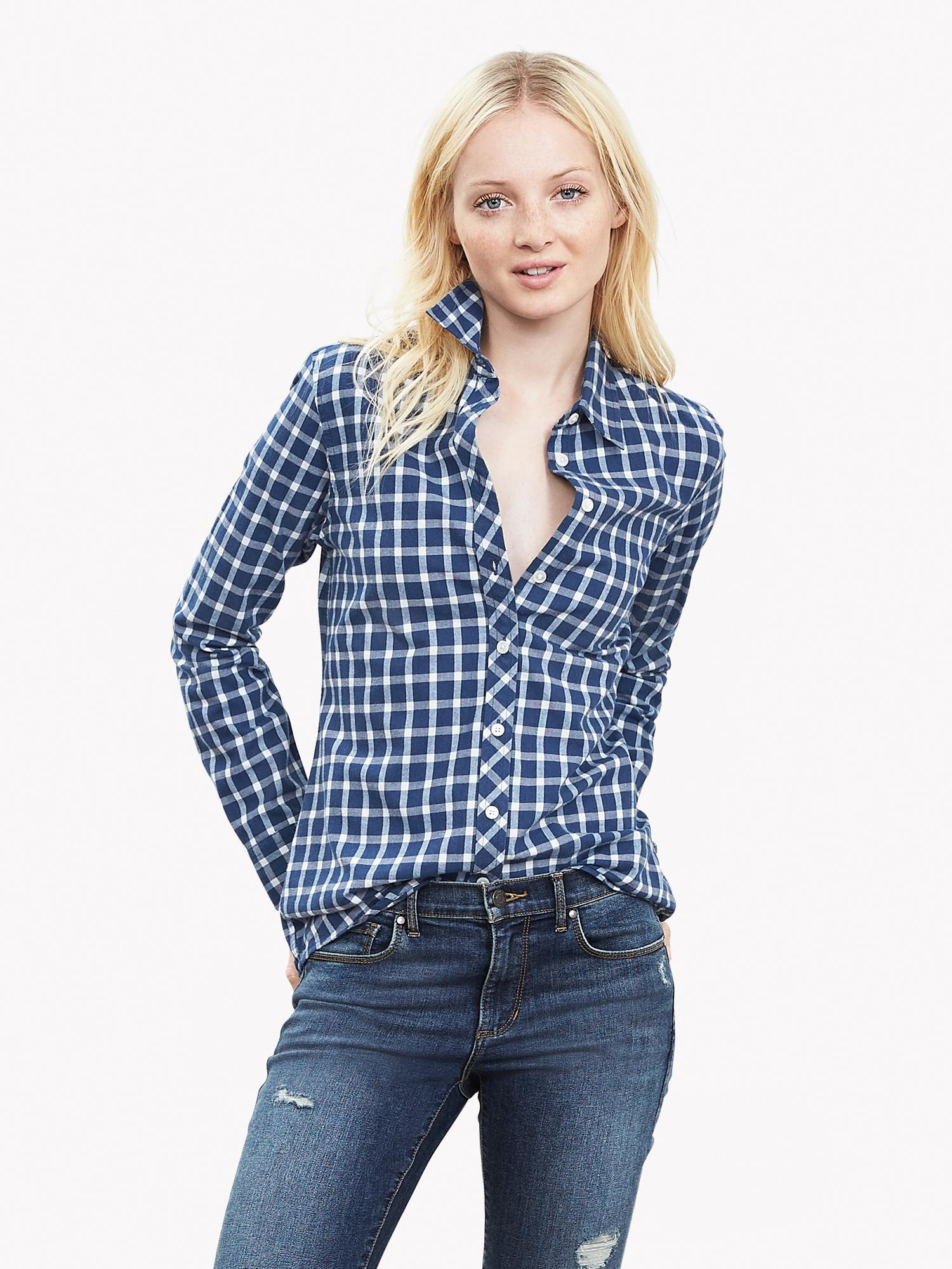 Banana republic soft wash gingham flannel boyfriend shirt for How to wash flannel shirts