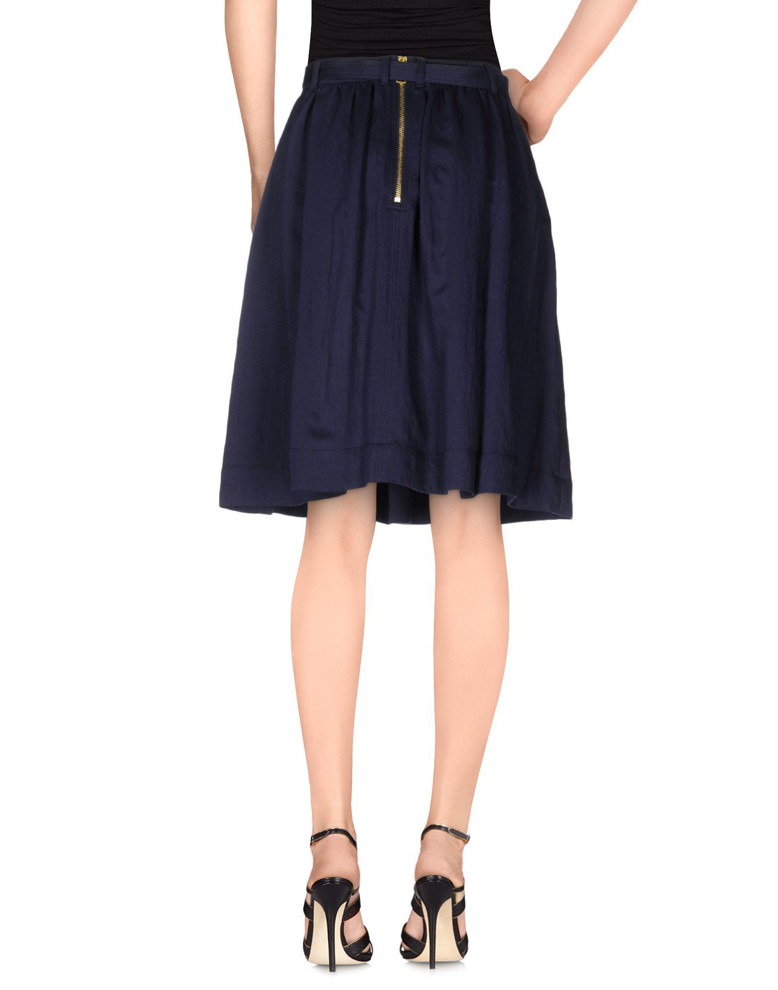 burberry brit knee length skirt in blue lyst