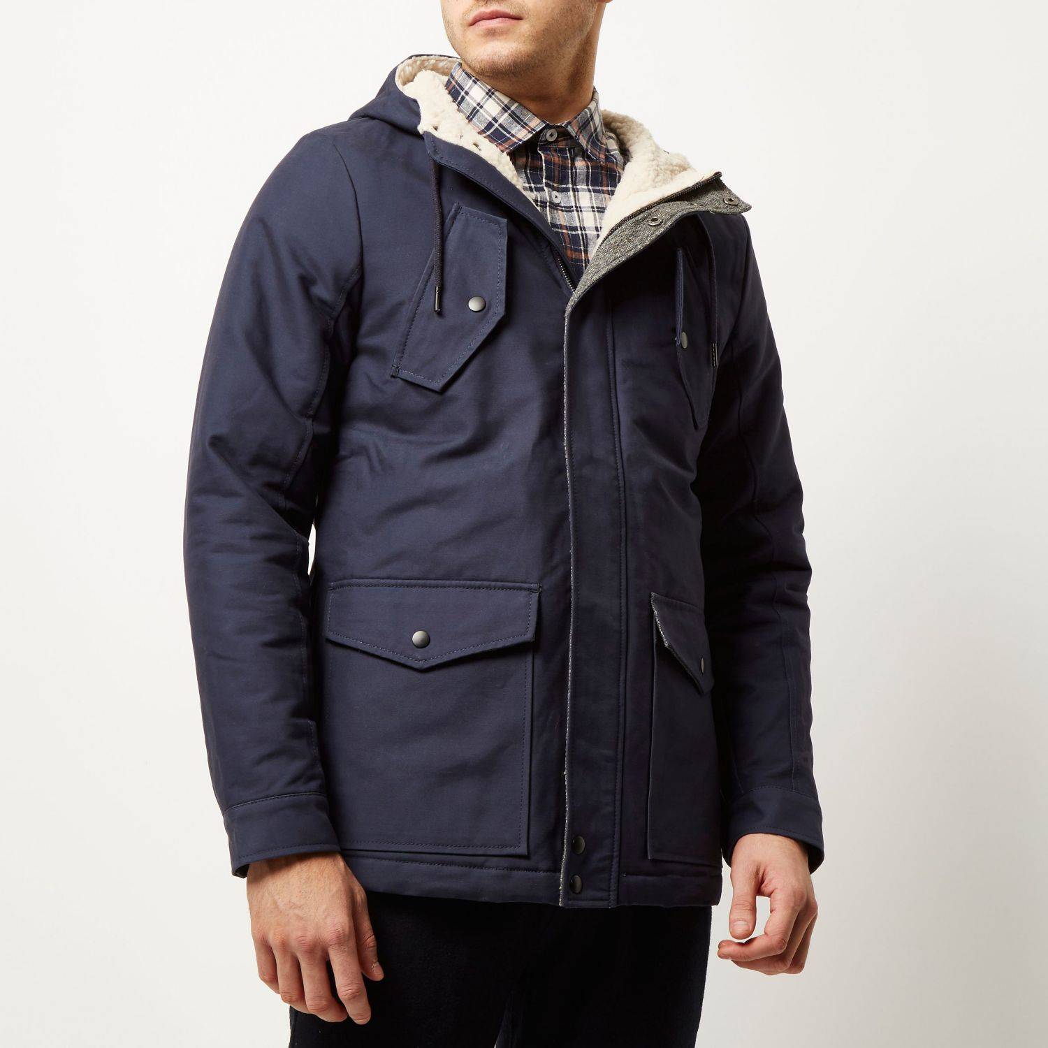low cost hot sales separation shoes River Island Cotton Navy Borg Lined Winter Coat in Blue for Men - Lyst