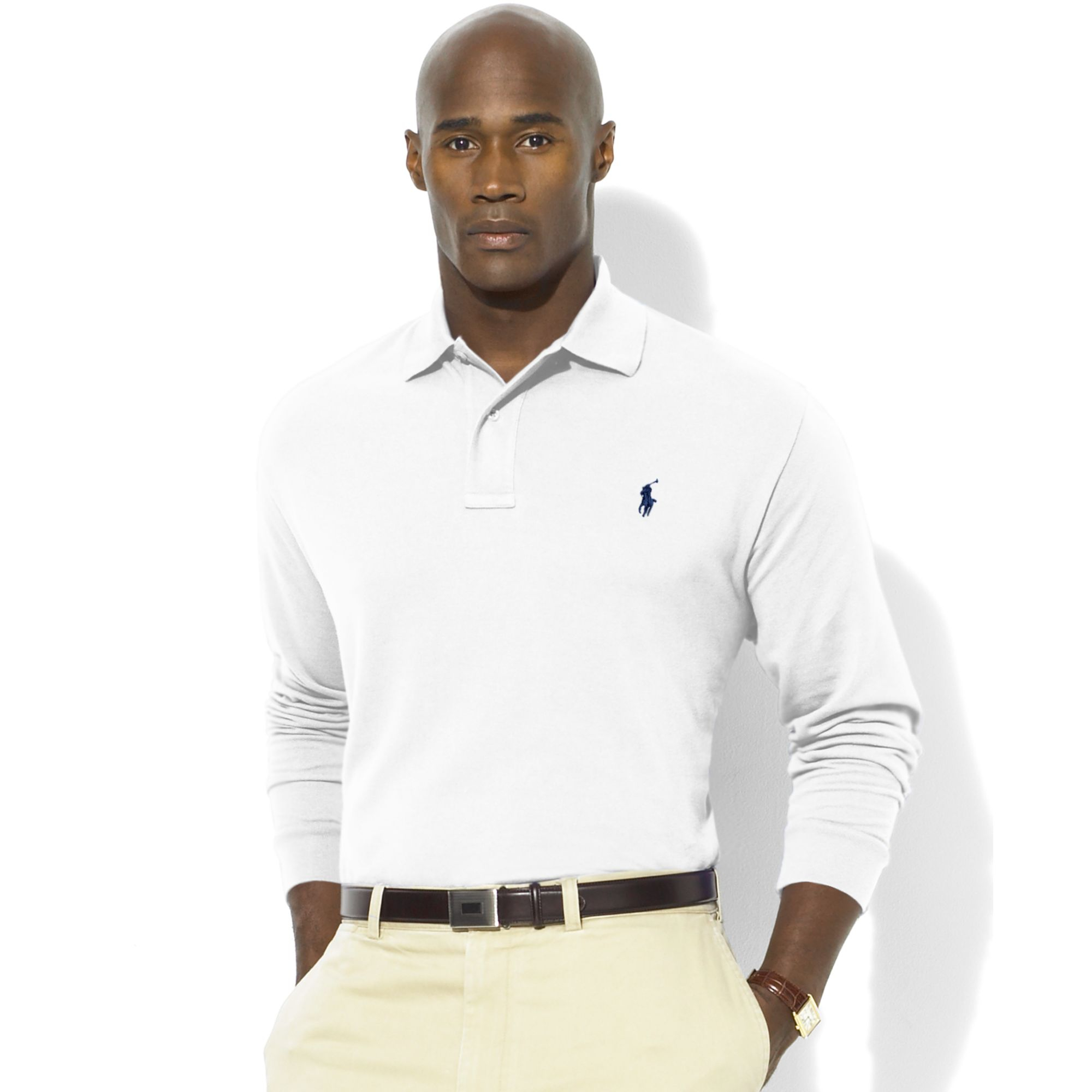 e326cb9c Ralph Lauren Classic-fit Long-sleeve Cotton Mesh Polo in White for ...