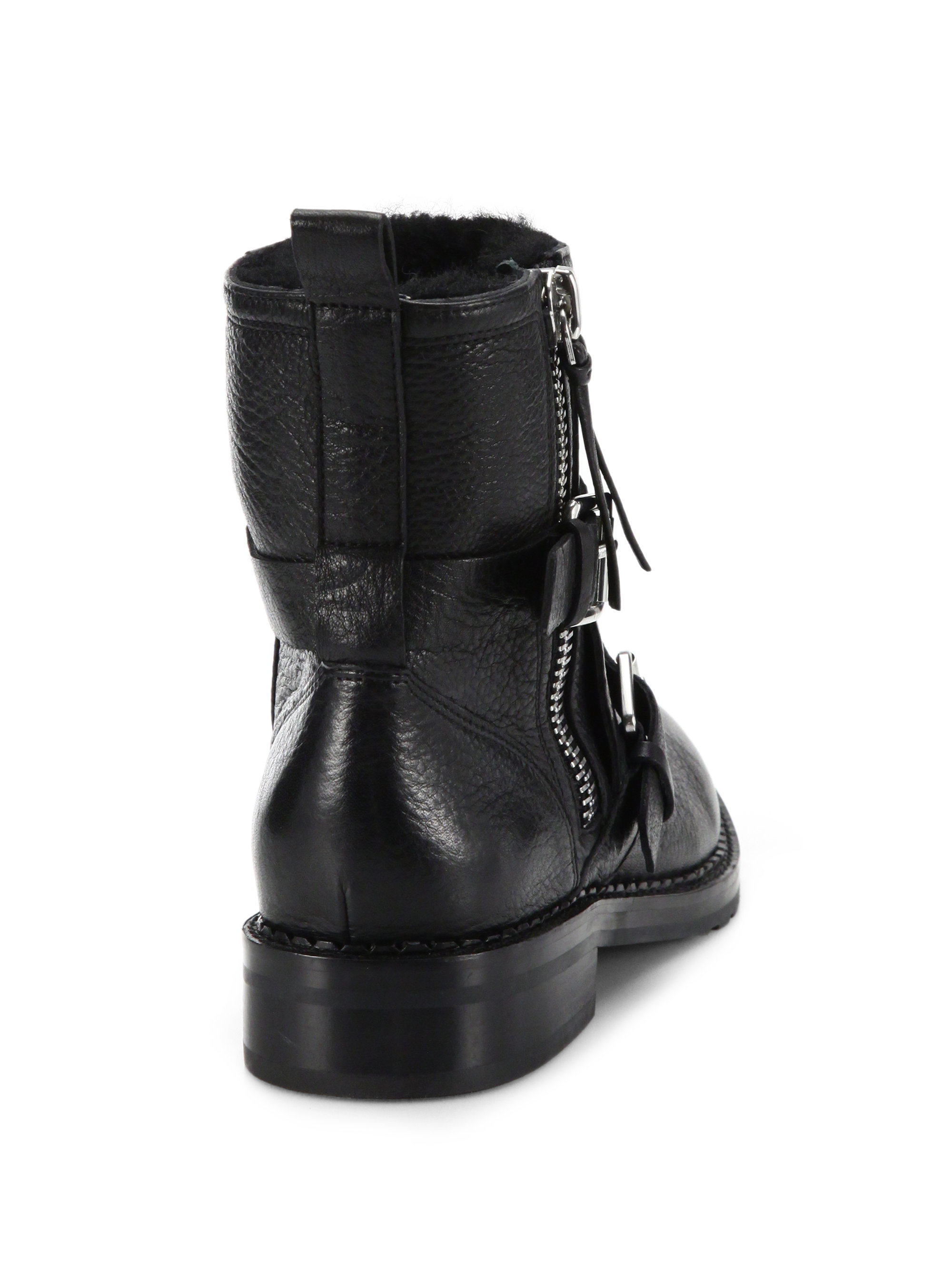 Rebecca Minkoff Griffin Leather Moto Boots In Black Lyst