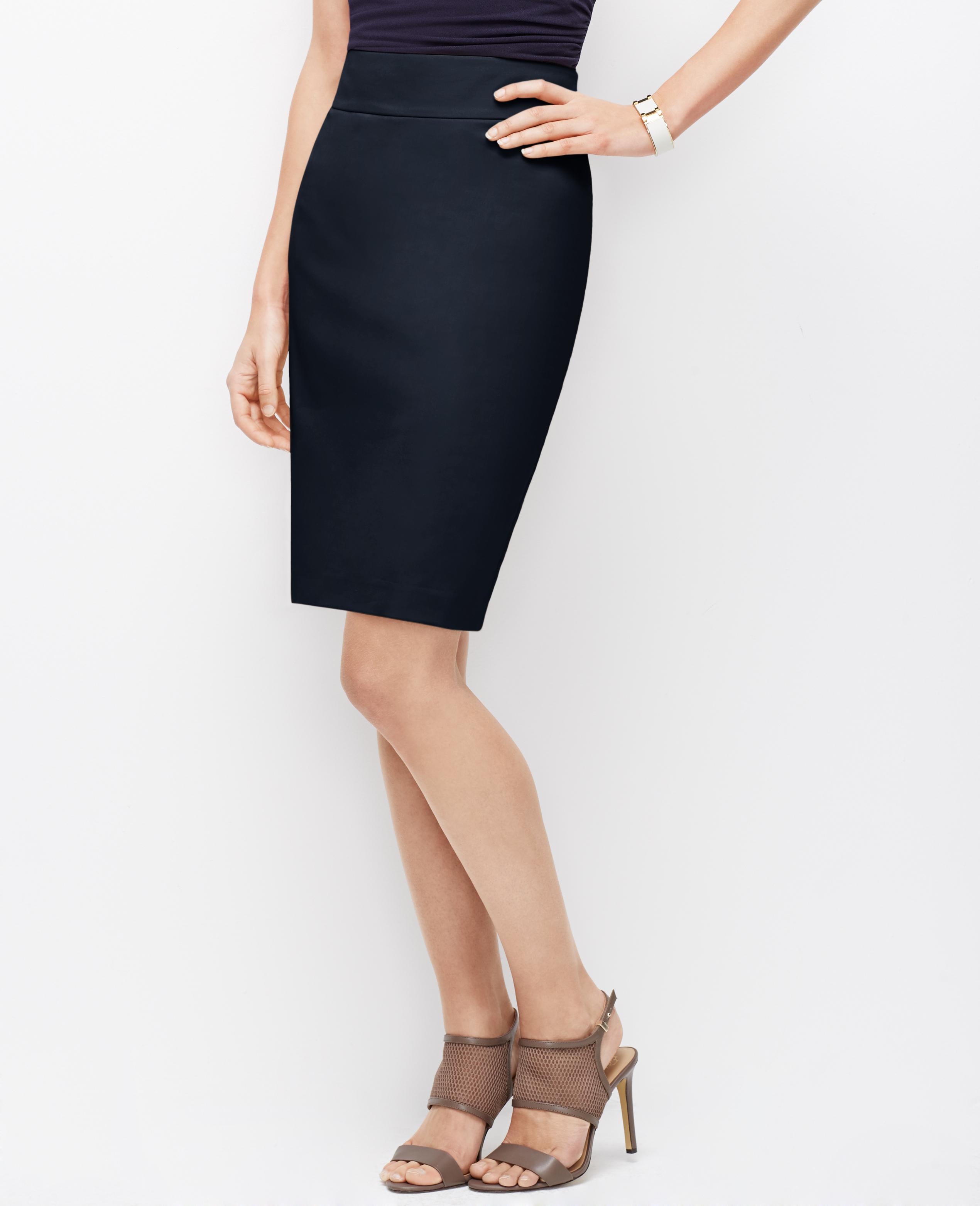 cotton sateen pencil skirt in blue lyst
