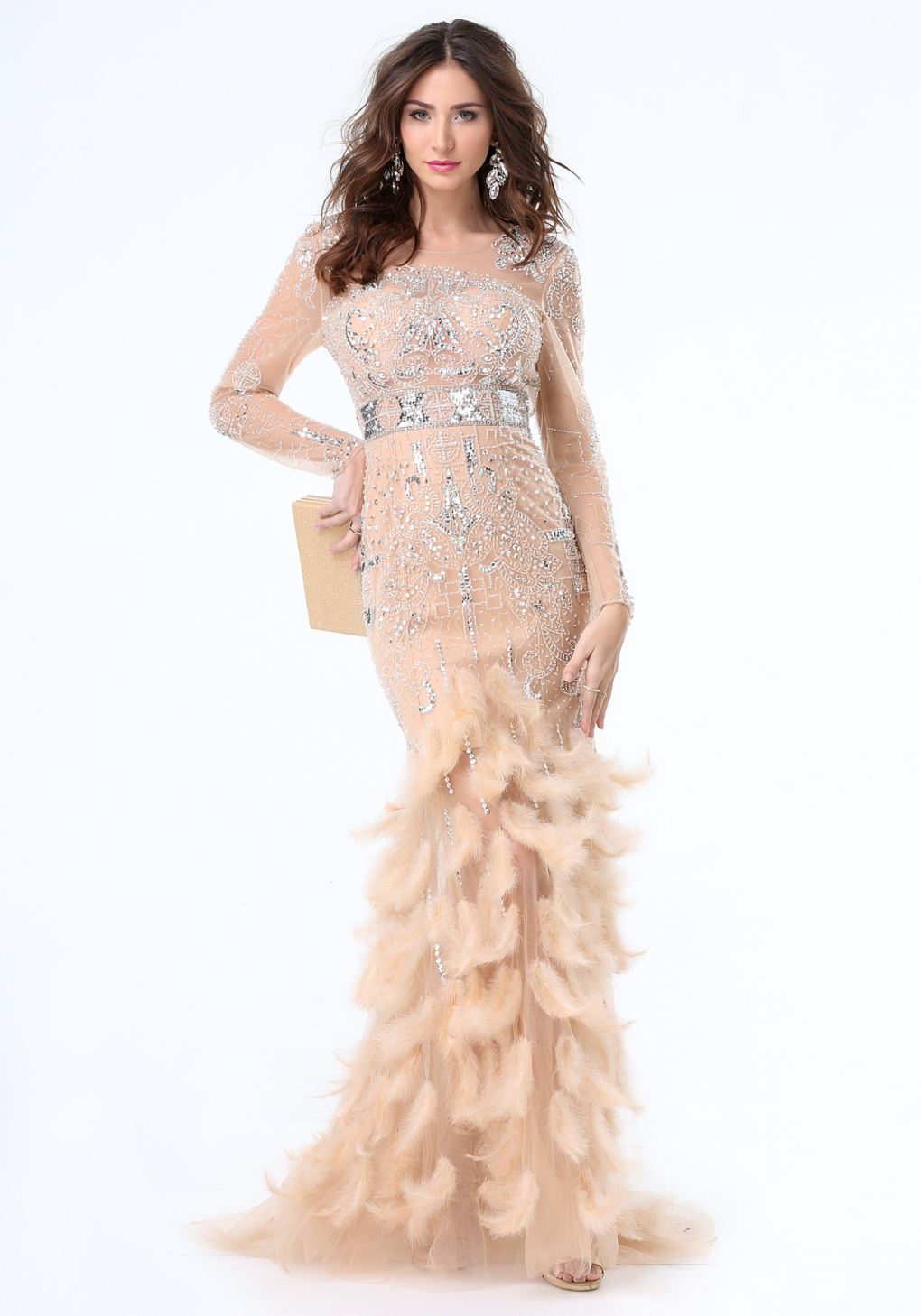 Lyst - Bebe Jewel & Feather Gown in Natural