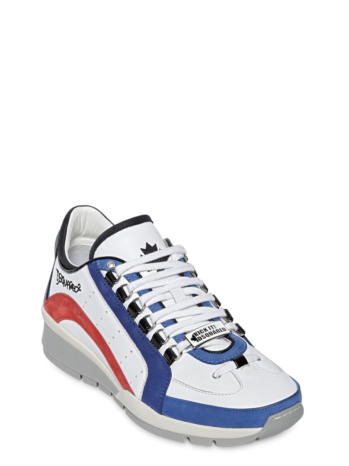 DSquared² Leather & Nubuck Sneakers in White