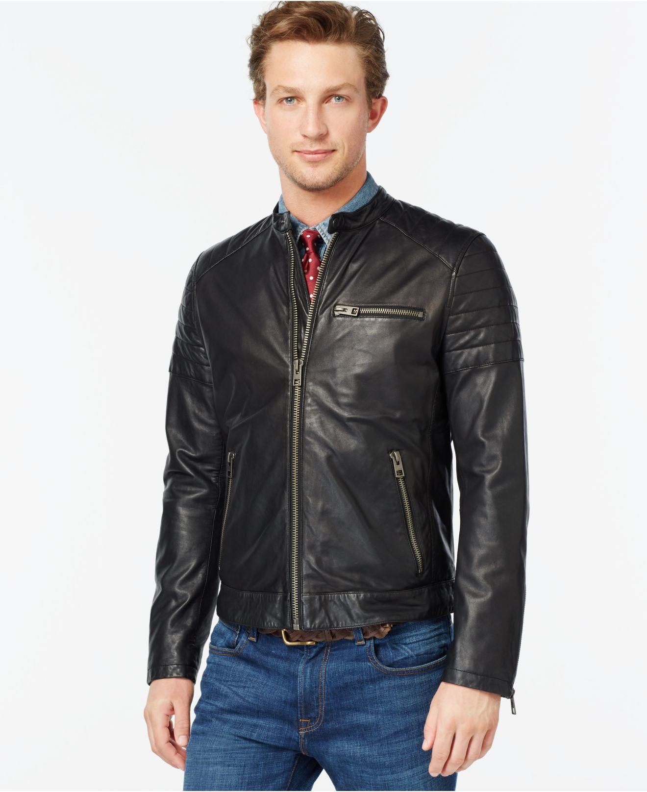 tommy hilfiger quilted leather moto jacket in black for. Black Bedroom Furniture Sets. Home Design Ideas