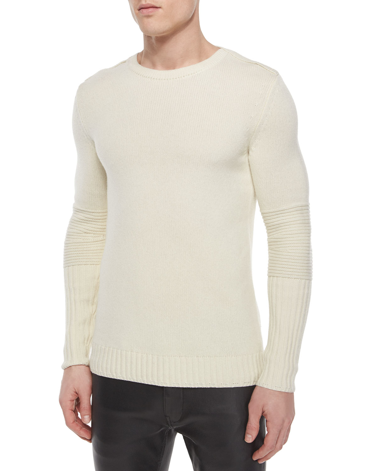 d181d456ab Lyst - Helmut Lang Crewneck Wool Sweater With Moto Detail in Natural ...