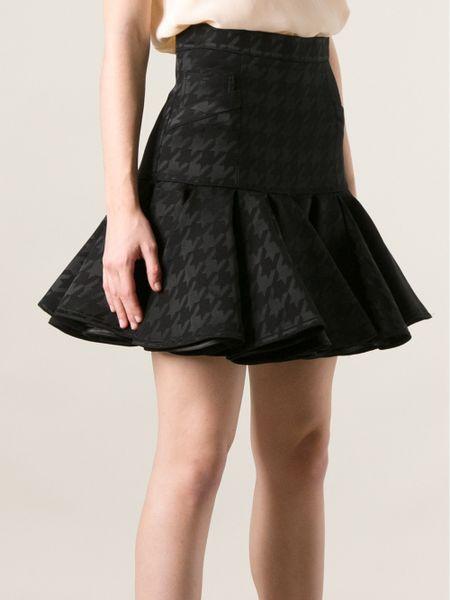 Balmain Houndstooth Print Skirt In Black Lyst