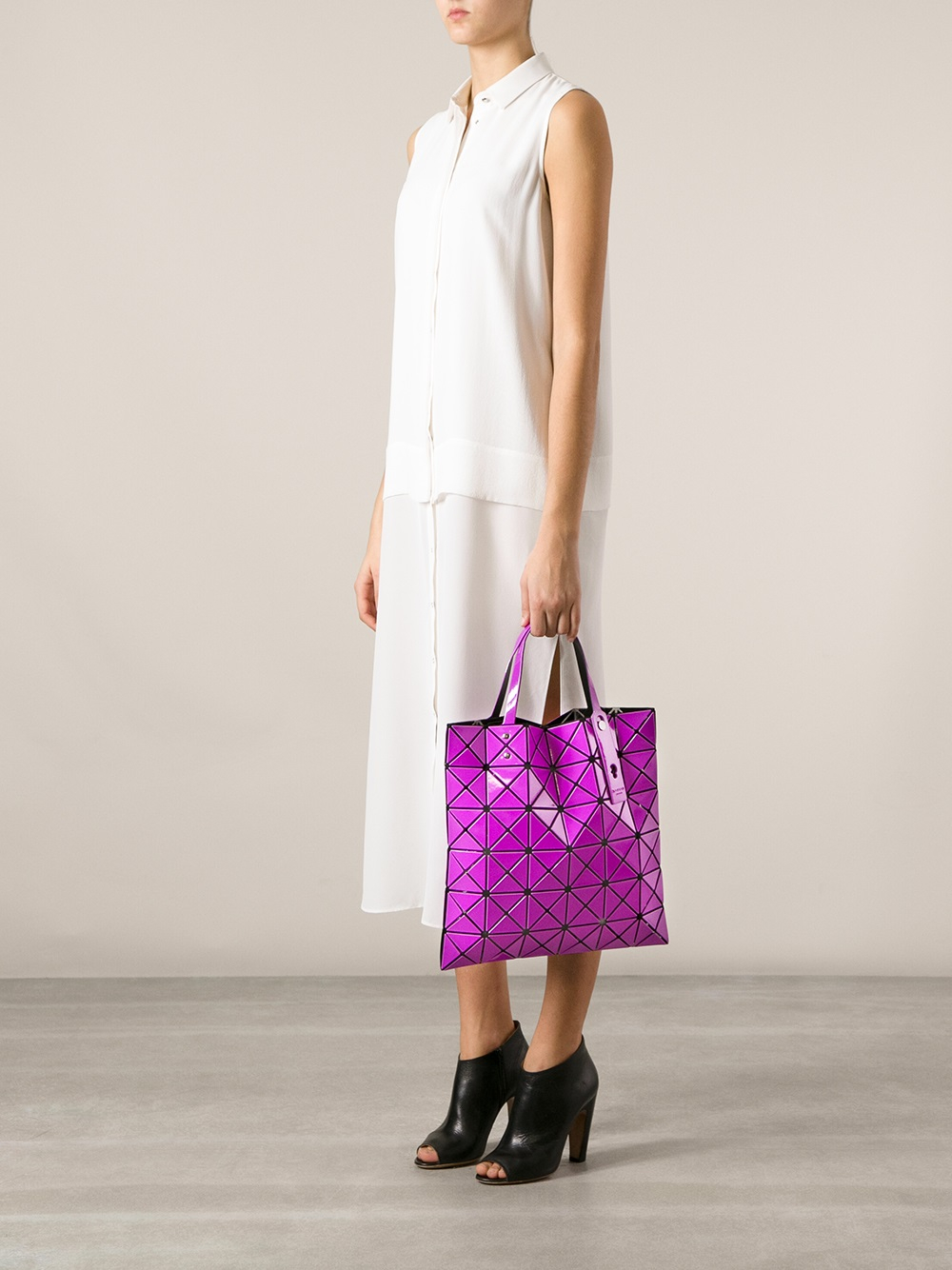 Bao Bao Issey Miyake Geometric Panel Tote Bag in Pink & Purple (Pink)
