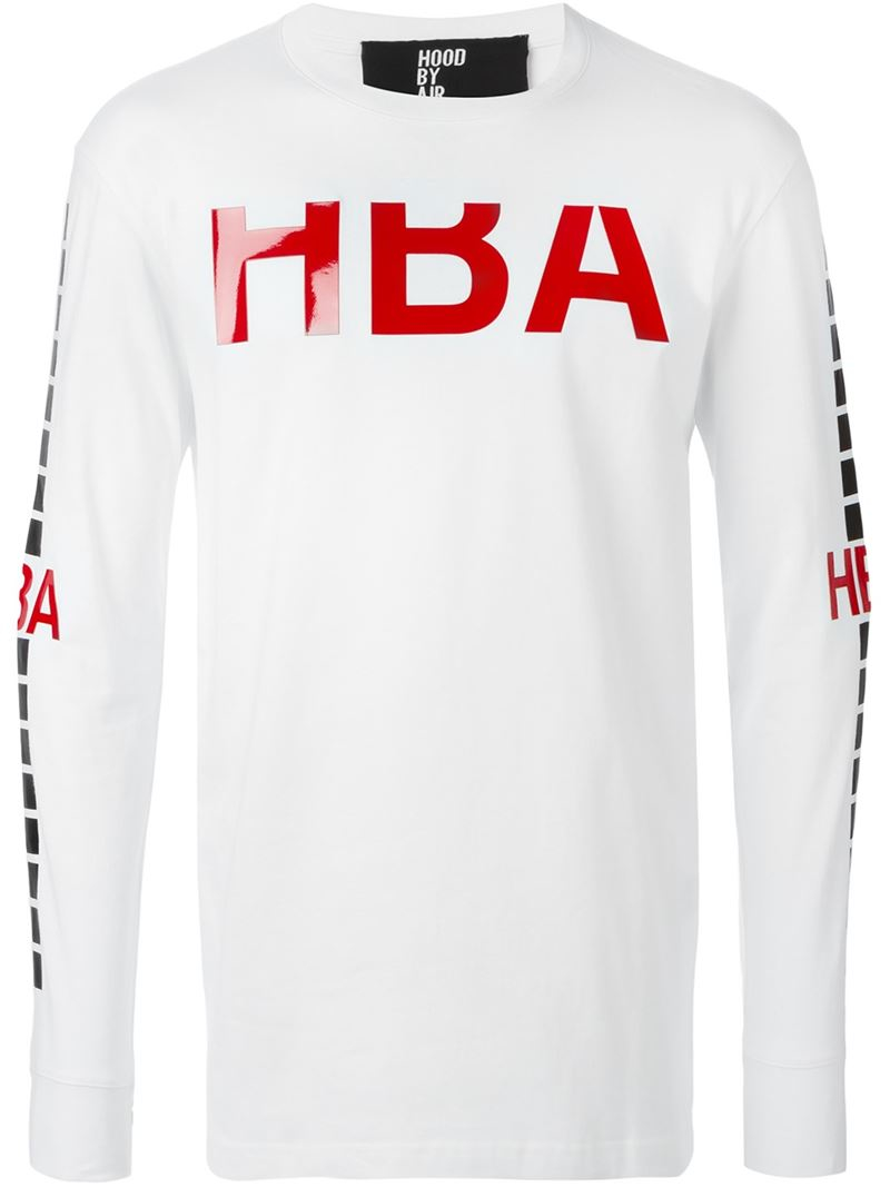 Hood by air print long sleeve t shirt in white for men lyst for Print long sleeve shirt