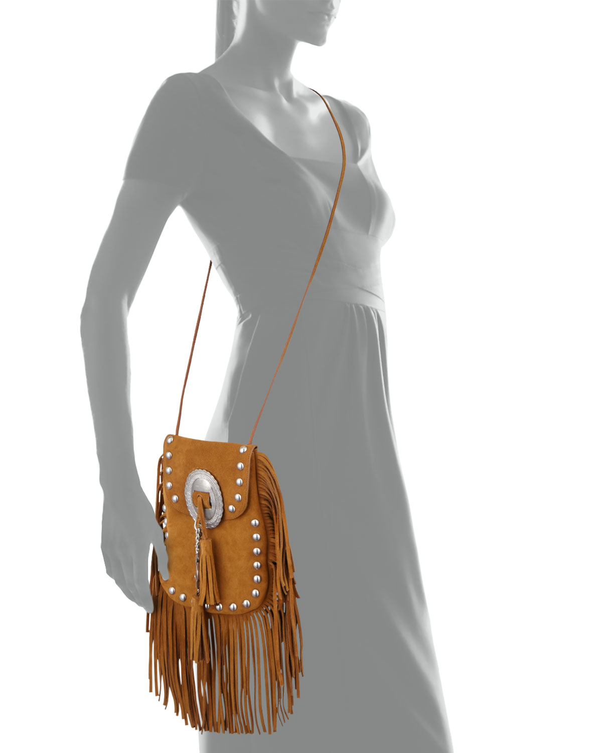 on sale 5ed2f 962b5 Lyst Saint Lau Anita Small Suede Fringed Shoulder Bag  In Brown ... 06dbad3dc7