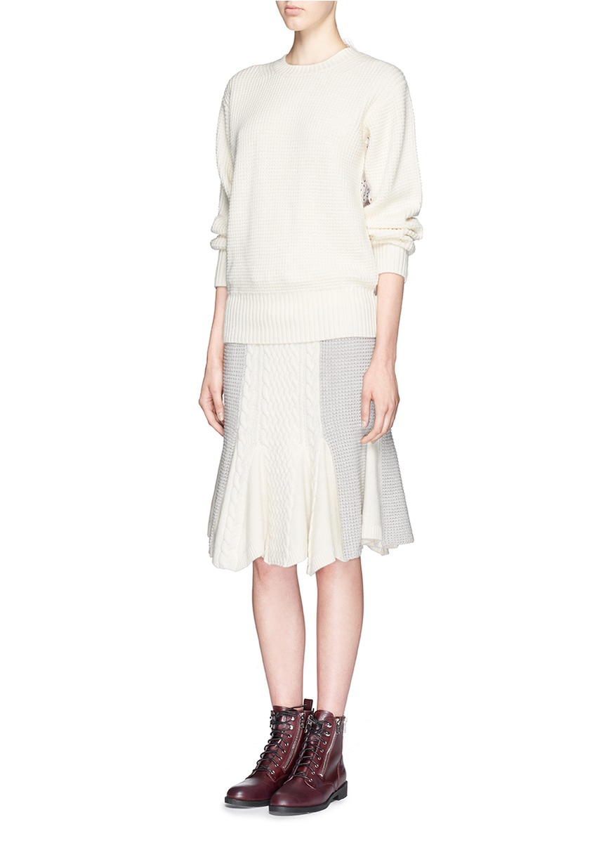 569edac46 Sacai Luck Drawstring Hem Cable Knit Wool Flare Skirt in Gray - Lyst