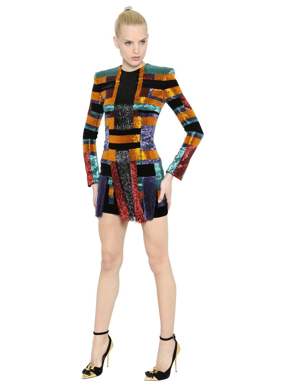 Lyst Balmain Beaded Velvet Dress With Fringe Details