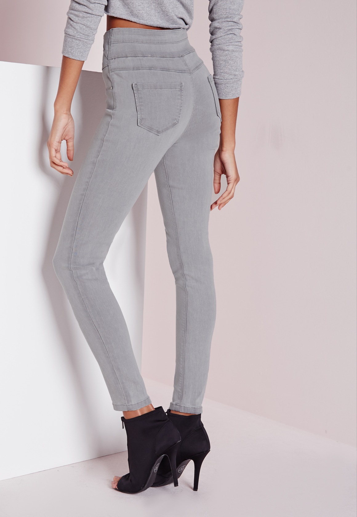 Missguided Sinner High Waisted Skinny Jeans Light Grey in Gray | Lyst