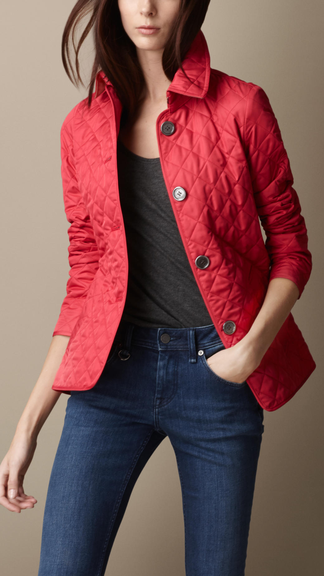 Burberry Diamond Quilted Jacket In Light Crimson Red Lyst