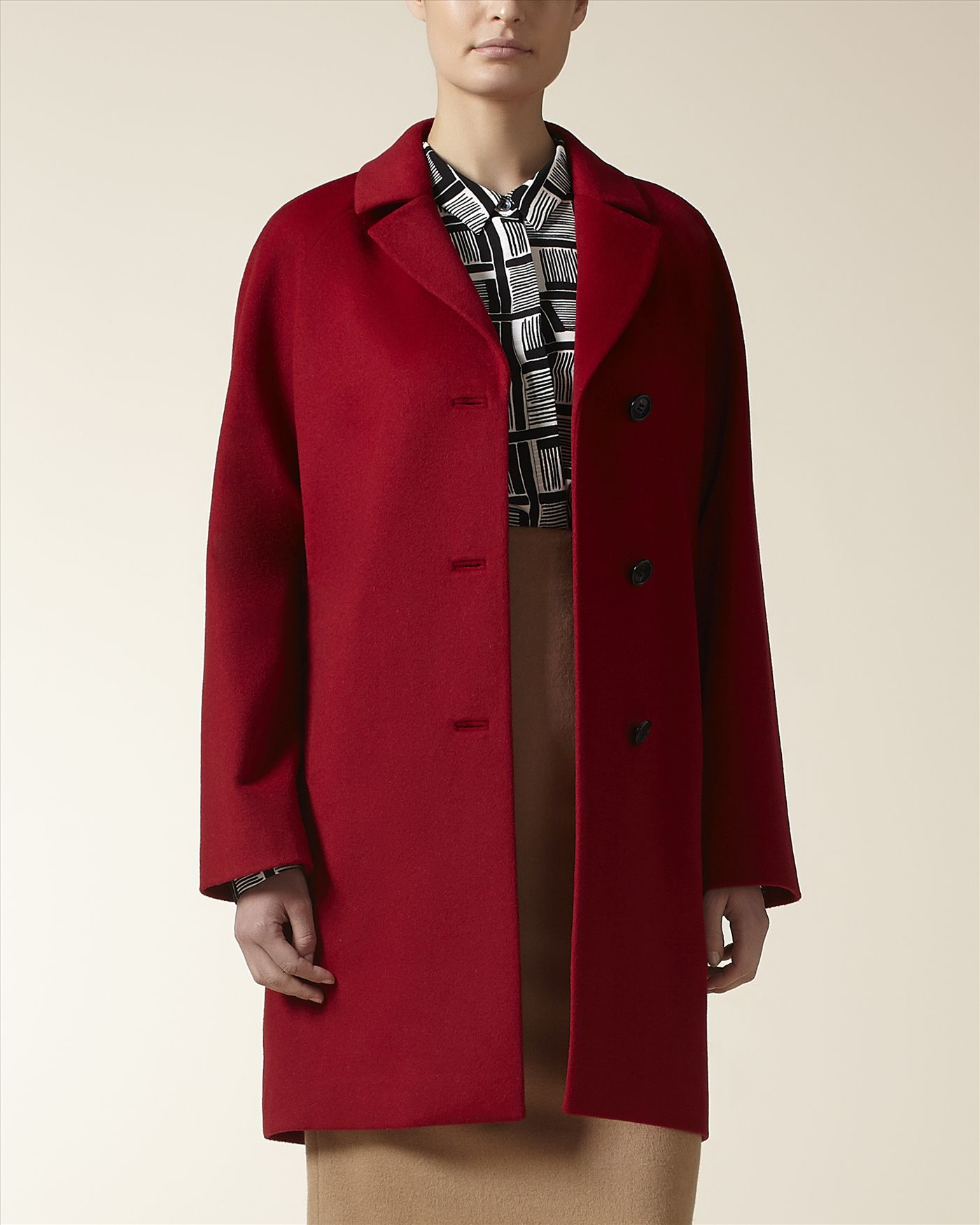 Jaeger Wool Three Button Coat in Red   Lyst
