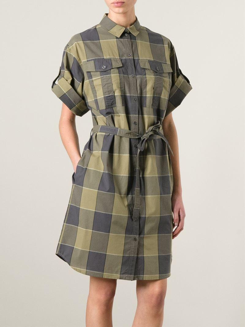 Burberry Brit Check Print Shirt Dress In Green Lyst